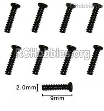 Subotech BG1525 Countersunk head screws Parts. WLS003. With a size of M2X9KB. Total 8pcs.
